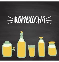 kombucha set vector image vector image