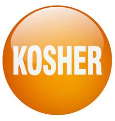 Kosher orange round gel isolated push button vector