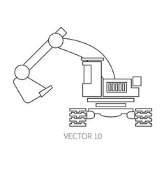 Line flat icon construction machinery vector