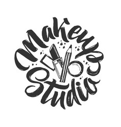 makeup studio logo hand drawn vector image vector image