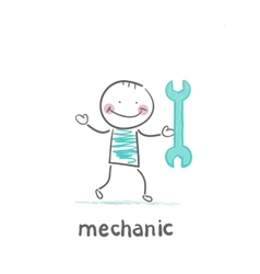 Mechanic holding a green key vector