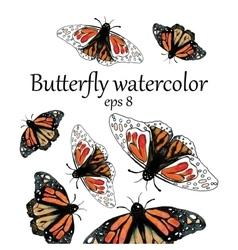 Monarch butterfly watercolor pattern vector