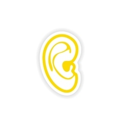 Paper sticker on white background human ear vector