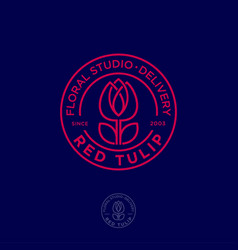 red tulip logo flower studio emblem vector image