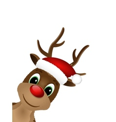 Reindeer with red nose and Santa hat vector image