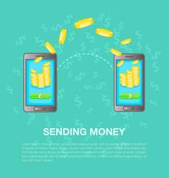 Sending money concept cartoon style vector