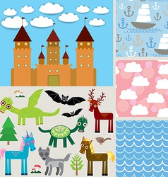 Set 3 seamless background Castle Fabulous animals vector image vector image