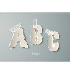 set alphabet torn paper with transparent vector image