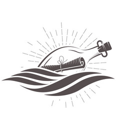 Sos message in a bottle floating on waves vector
