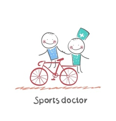 Sports doctor rides a bicycle with a patient vector