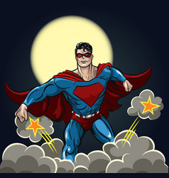 superhero with red cape vector image