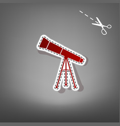 Telescope simple sign red icon with for vector