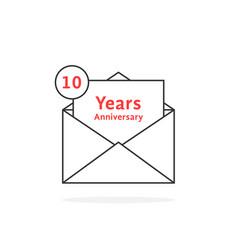 thin line 10 years anniversary logo like open vector image vector image