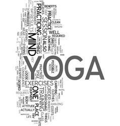 yoga for the beginner text word cloud concept vector image vector image