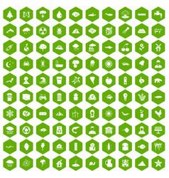 100 earth icons hexagon green vector