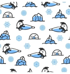 Seamless pattern with cute doodle seal vector