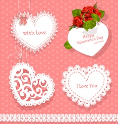 Set of cards valentine heart-shaped vector