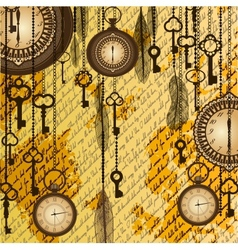 Antique background with manuscript and clocks vector image