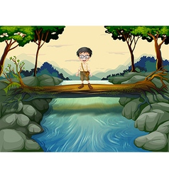 A boy standing in the middle of the trunk vector image