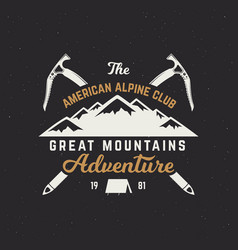 Vintage hand crafted label mountain expedition vector