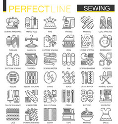 Sewing equipment outline concept symbols vector
