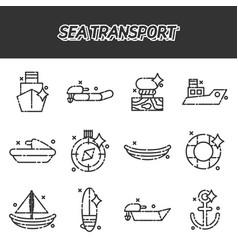 Sea transport cartoon concept icons vector
