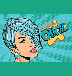 Calm beautiful woman with short hair skeptical vector