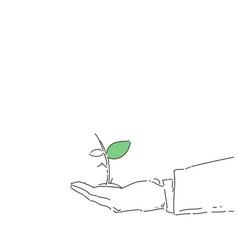 Business man hand holding plant environmental vector