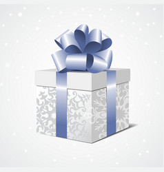 Silver gift box with a blue bow vector image