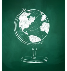 Globe drawn on green chalkboard vector