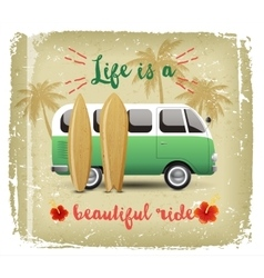 Summer time background with camper van vector