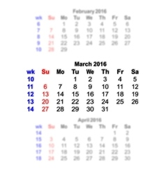 March 2016 calendar week starts on sunday vector