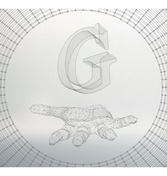 Letter g of lines and dots on the arm the vector