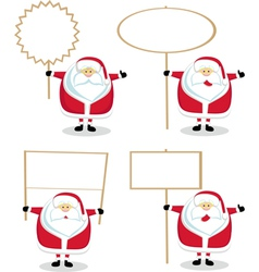 Cartoon santas holding blank signs vector