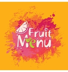 Fruit menu with orange slice and spray vector