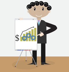 Success man presentation growth money vector