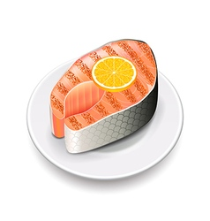 Grilled salmon isolated on white vector