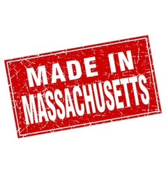 Massachusetts red square grunge made in stamp vector
