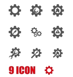 Grey tools in gear icon set vector