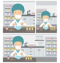 Pharmacist preparing medication vector image