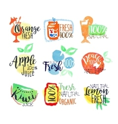 Fresh fruit juice promo signs colorful set vector