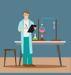 a chemist or an assistant writes down the results vector image