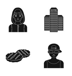 Addict building and other web icon in black style vector