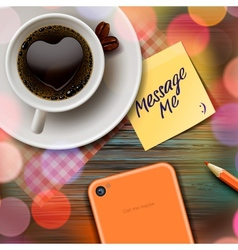 Autumn cup of coffee tablet and stick note vector image