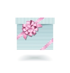Blue striped gift box with pink bow vector image vector image