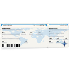 blue template of boarding pass ticket vector image
