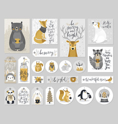 christmas cards and gift tags set hand drawn vector image vector image