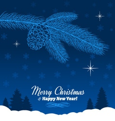 Christmas tree branch with pine cone in blue vector