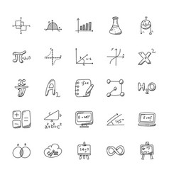 Doodle icons set of mathematics theme vector
