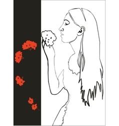 Girl with flower in black 03 vector image vector image